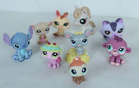 2pcs//lot Littlest Pet Shop LPS Yellow Pink Green Rabbit kid toy