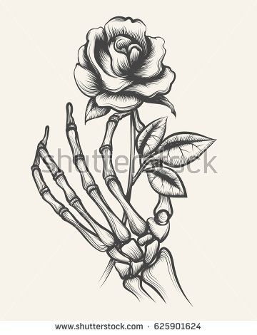Handdrawn Skeleton Bones Hand With Rose Flower Engraved Vector Illustration Skeleton Art Drawing Skeleton Hands Drawing Skeleton Drawings