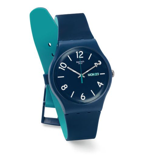 Swiss made, the Swatch watch BACKUP BLUE features a quartz movement, a silicone strap and a plastic watch head. Discover more Originals New Gent on the Swatch United States website.
