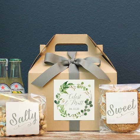 Wedding Welcome Boxes - Botanical Greenery Label. Our boxes are the perfect out of guest box or hotel guest box for your big day. Diy Wedding Gifts, Wedding Gift Boxes, Wedding Gifts For Guests, Wedding Tips, Personalized Wedding, Wedding Favors, Wedding Bouquets, Our Wedding, Wedding Planning