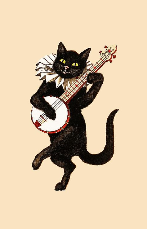 Cat playing Banjo from The Black Cat Magazine Retro Halloween, Kitty Tattoos, Cat Tattoo, Witcher Wallpaper, Cat Magazine, Dancing Cat, Vintage Humor, Cat Drawing, Cat Art