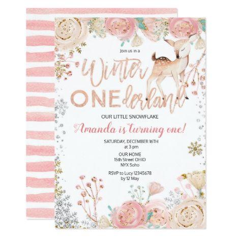 Floral Winter Onederland Snow Birthday Invitation Zazzle Com