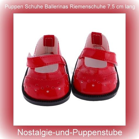Puppen Schuhe Stiefel rot 7 cm Sohlenlänge für 42-45 cm Puppen 1001...