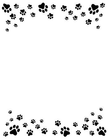 Black And White Dog Paw Prints Top And Bottom Border Header Paw Print Background Paw Wallpaper Dog Paw Print
