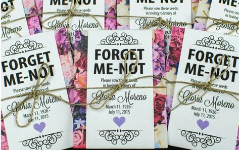 Share the love in remembering loved ones who have passed with these personalized memorial forget-me-not seed packets with red and purple floral wraps. Perfect for funerals, memorial services and life celebrations.  Each individual seed packet is personalized with your loved ones name, birthdate &