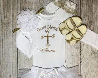 Personalized Christening god bless glitter glitter Baptism bodysuit God Bless Baby Christening Christening bodysuit cross bodysuit
