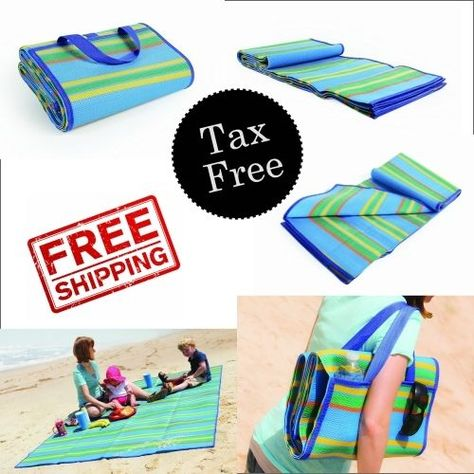 Beach Blanket Sand Proof Picnic Mat Handy Strap Outdoor Camp Pad