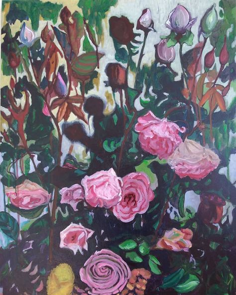 Rose Bush - acrylic on canvas. I wanted to show the darker side of roses,  the menacing thorny bush which is my experie… (With images) | Rose bush,  Rose painting, Flower painting