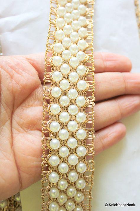 1m 4cm pearl gold crystal indian braid beaded lace bridal wedding trim FLOWER