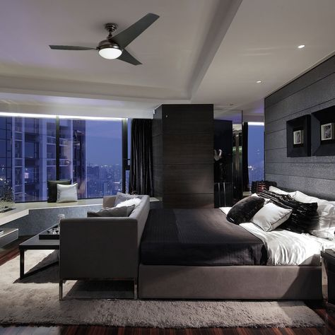 15 Incredible Modern Apartment Bedroom Design Ideas For Your Inspiration Modern Master Bedroom, Modern Bedroom Design, Master Bedroom Design, Contemporary Bedroom, Master Bedrooms, Bedroom Black, Master Suite, Trendy Bedroom, Modern Mens Bedroom