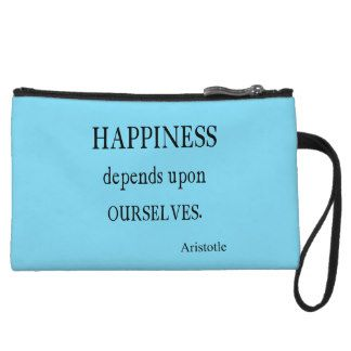 Vintage Aristotle Happiness Inspirational Quote Wristlet
