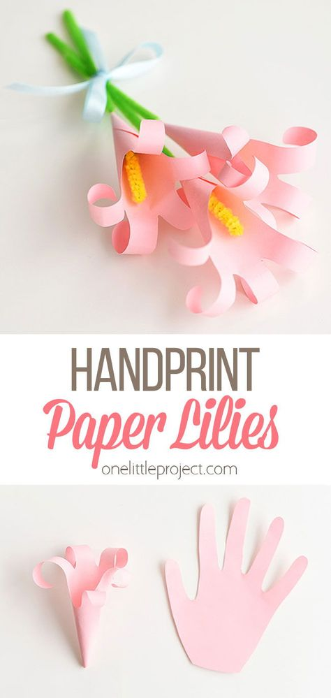 paper projects These handprint lilies are so easy to make and they look so beautiful! You can use coloured paper and make a bouquet of paper handprint lilies for Mother's Day.