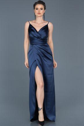 Lacivert Yirtmacli V Yaka Abiye Elbise Abu564 Elbise The Dress Moda Stilleri