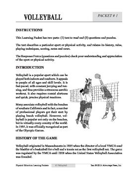Volleyball An Academic Learning Packet Volleyball Worksheets For Kids Learning