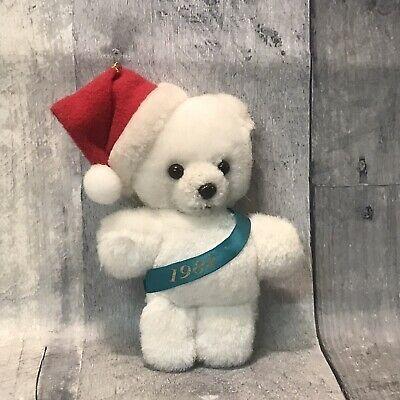 Avon Christmas Plush 2020 Vintage Avon 1982 Sash White Teddy Bear Santa Hat Christmas
