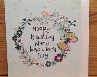 Happy Birthday Nana Card Birthday Card Nana Butterfly Greetings Card Happy Birthday Nan Flowers Special Card Pretty Pretty Cards Special Cards Birthday Cards