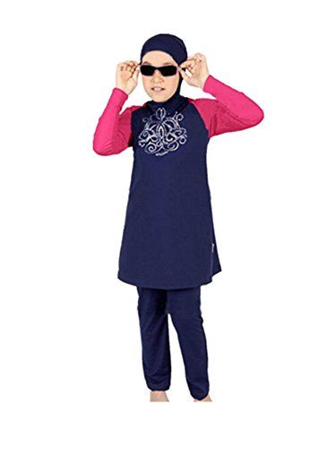 KXCFCYS Muslim Swimwear for Kid Girls Children Modest Islamic Hijab Swimsuits Burkini