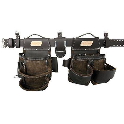 Genuine Grain Leather Carpenter Tool Pouch Bag BeltTool Rig Set