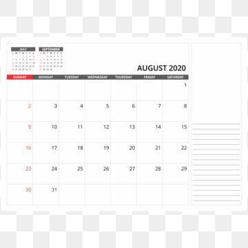 أغسطس 2020 مكتب التقويم الشهري 2020 التقويم بي إن جي Png والمتجهات للتحميل مجانا Calendar Vector Desk Calendars Calendar