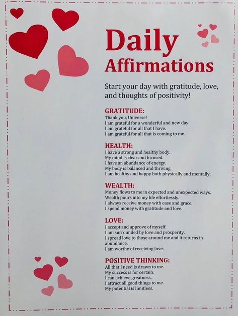 DAILY AFFIRMATIONS: a list of my very favorite affirmations that target some of the most important aspects of our lives. Can be used daily to target beliefs on our personal gratitude, health, wealth, love, and positive thinking ♥ Affirmation
