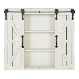 Kate And Laurel Cates Rustic Wood Wall Storage Cabinet With Barn