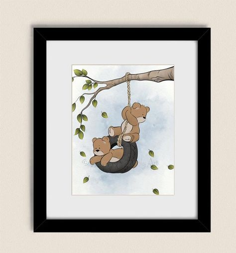 Teddy bear nursery art fine art print for kid/'s room decor bright color nursery art children/'s wall art