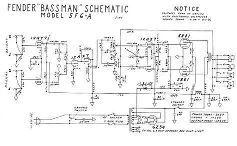 Fender Bassman Schematic | Electronics in 2019 | Valve