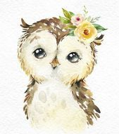 Little Raccoon Wild Pig Owlet. Watercolor animals clipart forest forest flowers children cute