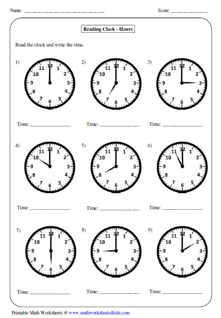 A Set Of Worksheets To Use When Developing Analogue Clock Skills