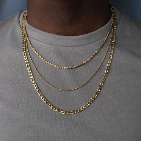 Machi Jewelry Layered Necklace set for men – gold Figaro chain – rope necklace – snake chain – necklace for men – layered chain – Necklace 2020 Layered Necklace Set, Mens Chain Necklace, Layered Jewelry, Necklace Sizes, Chain Earrings, Gold Chains For Men, Mens Chains, Accesorios Casual, Stainless Steel Necklace