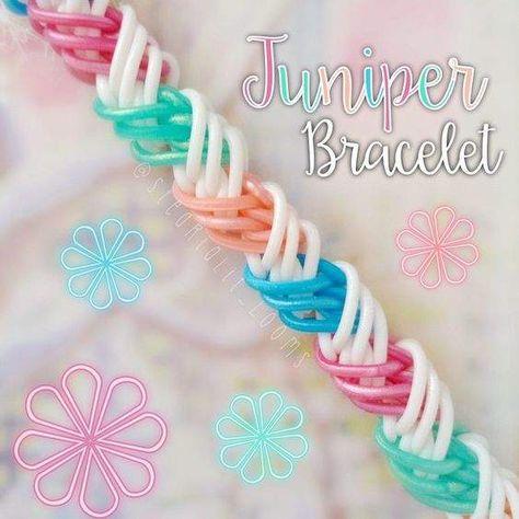 Rainbow Loom Juniper Bracelet - Hook Only Tutorial - design by and tut. Rainbow Loom Bracelets Easy, Loom Band Bracelets, Rainbow Loom Tutorials, Rainbow Loom Patterns, Rainbow Loom Creations, Rainbow Loom Charms, Rubber Band Bracelet, Loom Band Charms, Braided Bracelets