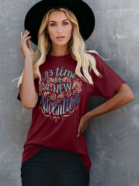 Dresswel Women It's Time For A New Adventure Stylish Letter Printed T-Shirt Tops
