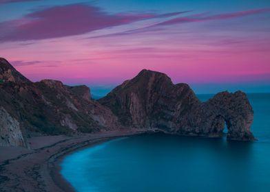Durdledoor England Nature Sunset Purple Blue Jurassic Coast Coastline