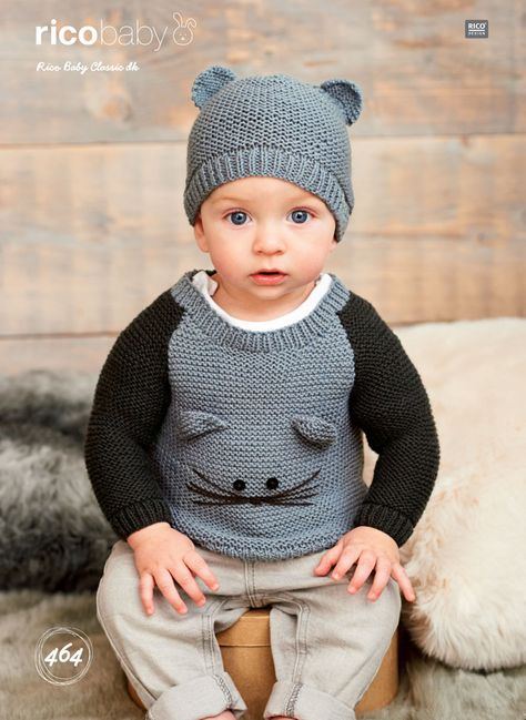 Rico Baby Wol.Sweaters And Hat In Rico Baby Classic Dk 464