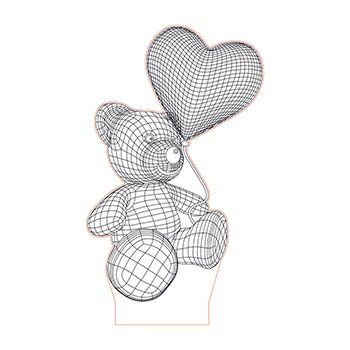Teddy Bear With Flying Heart Baloon 3d Illusion Lamp Plan Vector File For Laser And Cnc 3bee Studio 3d Illusion Lamp 3d Illusions Illusions