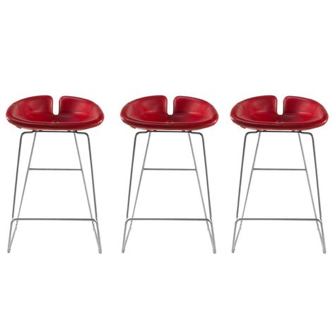 Remarkable Moroso Red Leather Fjord Low Bar Stools By Patricia Urquiola Creativecarmelina Interior Chair Design Creativecarmelinacom