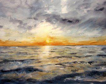 Coucher De Soleil Aquarelle Ne Peinture Murale Art Impression
