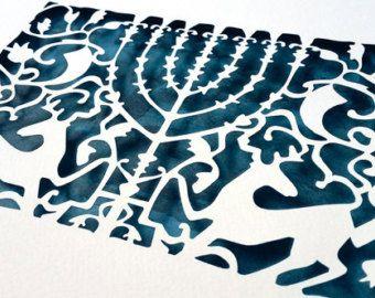 Seven 7 Branch Menorah Papercut Judaica Wall Hanging Art Etsy Hanging Art Meaningful Art Jewish Art