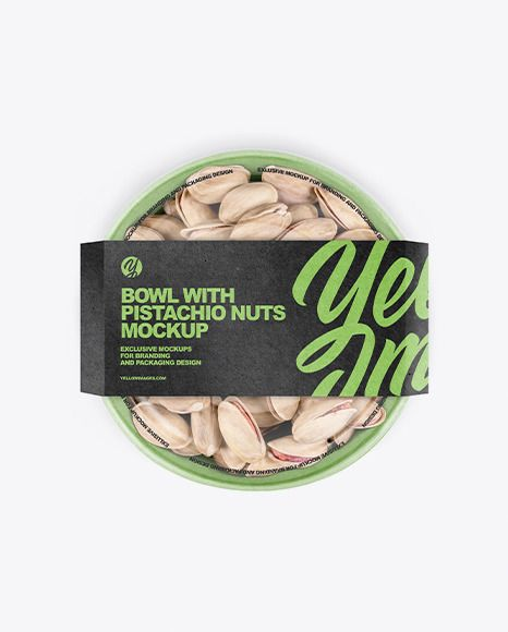 Download Paper Bowl With Pistachio Nuts Mockup In Cup Bowl Mockups On Yellow Images Object Mockups In 2021 Pistachios Nuts Paper Bowls Organic Food Packaging