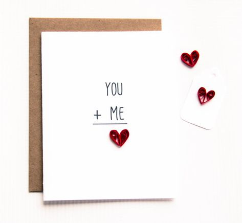 Valentine present. You and Me Love Card - I love you card - valentines day card - love card - heart card by ofthingspretty