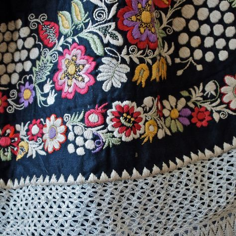 textiles as art: Czech Moravian Hand Embroidered Crocheted Folk Costume Apron Black with Flowers, Fruit