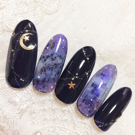 Having short nails is extremely practical. The problem is so many nail art and manicure designs that you'll find online Uñas Sailor Moon, Sailor Moon Nails, Korean Nail Art, Korean Nails, Witchy Nails, Kawaii Nail Art, Galaxy Nails, Gradient Nails, Nagellack Trends