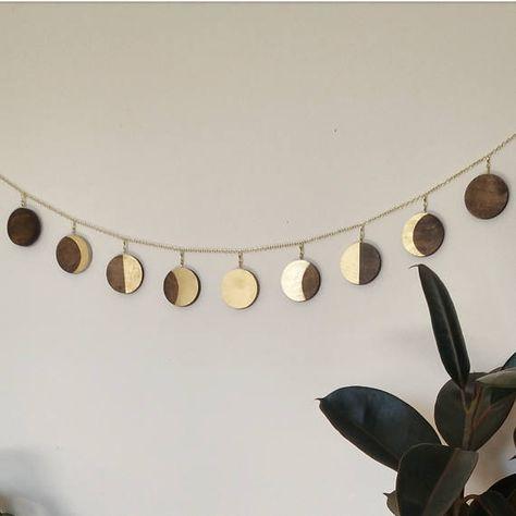 Wood Moon phase garland / moon wall art / boho wall hanging /