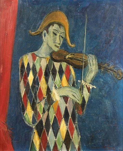 Bernard Lignon (b.1928), Arlequin Violoniste, Oil on canvas, 73,5 x ...