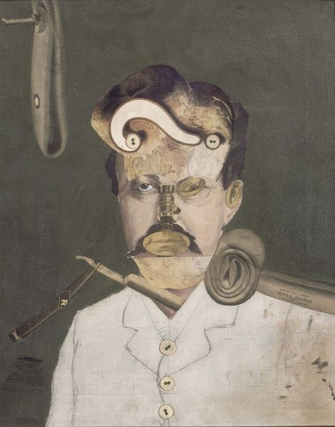 George Grosz, A Victim of Society, later retitled Remember Uncle August, the Unhappy Inventor, oil, pencil, photomontage and collage, 1919