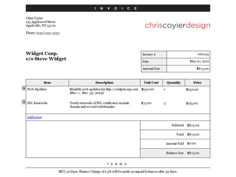 CSS-Tricksu0027 Editable Invoice Document Templates Pinterest - computer invoice