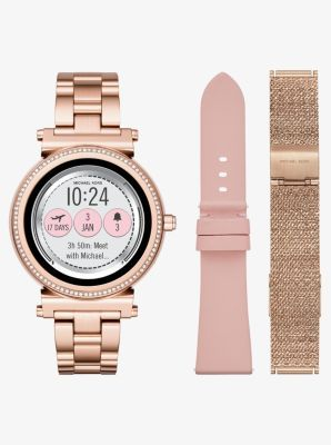 cc89a30874dd The Michael Kors Access Sofie smartwatch combines modern glamour with  next-generation technology. Featuring a full round display with new  technology for ...