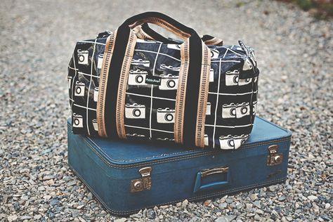 Laminated Echino Camera Laminated Duffle Bag Via Etsy Bags Travel Duffle Duffle