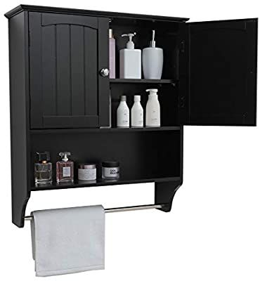 Amazon Com Iwell Wall Bathroom Cabinet With 1 Adjustable Shelf Towels Bar Over The Toile Black Bathroom Storage Black Cabinets Bathroom Adjustable Shelving