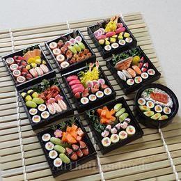 2 4 Sushi Bento Wooden Box Dollshouse Miniatures Japanese Food Deco Supply
